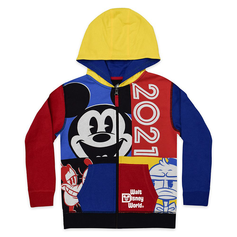 Disney Youth Zip Hoodie - Walt Disney World 2021 Logo - Mickey Mouse and Friends