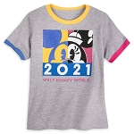 Disney Girls Ringer T - Shirt - Walt Disney World 2021 Logo - Minnie Mouse