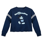 Disney Women's Cropped Pullover - Mickey Mouse - Blue