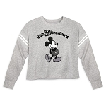 Disney Women's Cropped Pullover - Mickey Mouse - Gray