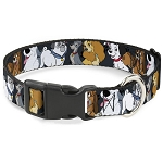 Disney Designer Breakaway Pet Collar - Disney Dogs Group Collage - Gray with Black Paws