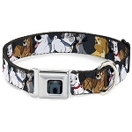 Disney Designer Pet Collar - Disney Dogs 6 Dog Group Collage - Gray with Black Paws