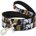 Disney Designer Pet Leash - Disney Dogs 6 Dog Group Collage - Gray with Black Paws