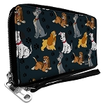Disney Designer Zip Around Wallet - Disney Dogs Group Collage - Gray with Black Paws