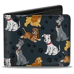Disney Designer Bi-Fold Wallet - Disney Dogs Group Collage - Gray with Black Paws