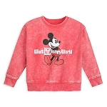 Disney Toddler Sweatshirt - Walt Disney World Logo - Mickey Mouse - Mineral Wash - Red