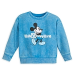 Disney Toddler Sweatshirt - Walt Disney World Logo - Mickey Mouse - Mineral Wash - Blue