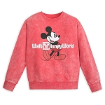 Disney Youth Sweatshirt - Walt Disney World Logo - Mickey Mouse - Mineral Wash - Red