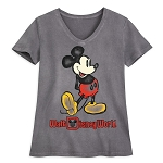 Disney Women's V-Neck Shirt - Walt Disney World - Mickey Mouse - Charcoal