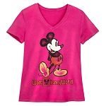 Disney Women's V-Neck Shirt - Walt Disney World - Mickey Mouse - Pink