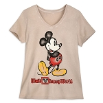 Disney Women's V-Neck Shirt - Walt Disney World - Mickey Mouse - Oatmeal