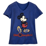 Disney Women's V-Neck Shirt - Walt Disney World - Mickey Mouse - Navy