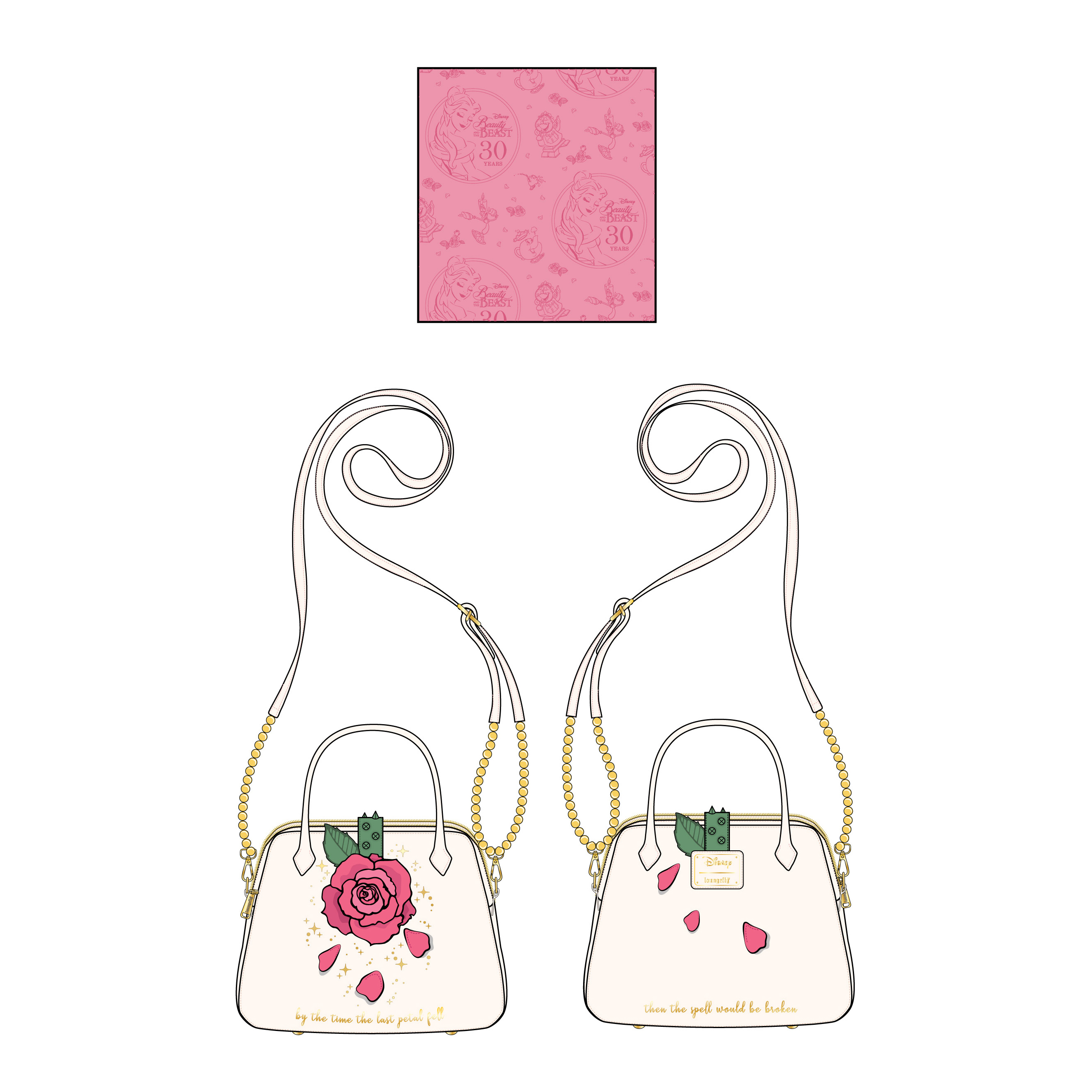 Disney Loungefly Bag - Beauty and the Beast Rose - Crossbody