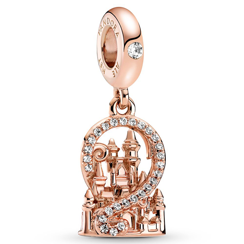 Disney Parks Pandora Dangle Charm - Fantasyland Castle - Rose Gold