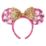 Disney Sequined Ear Headband - Minnie Mouse Polka Dot - Hot Pink and Gold