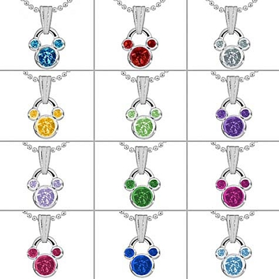 disney birthstone necklace mickey mouse