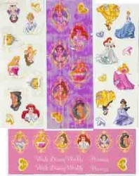 Disney Stickers 4 Strips - Disney Princess Roses