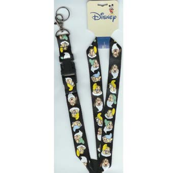 Disney Lanyard - Black with the Seven Dwarfs
