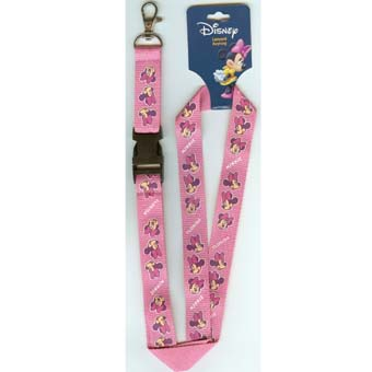 Disney Lanyard - Pink with Minnie Mouse Faces
