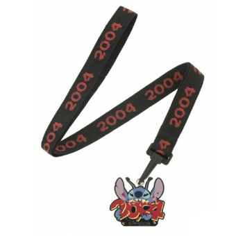 Disney Lanyard - Black with Red 2004 Stitch