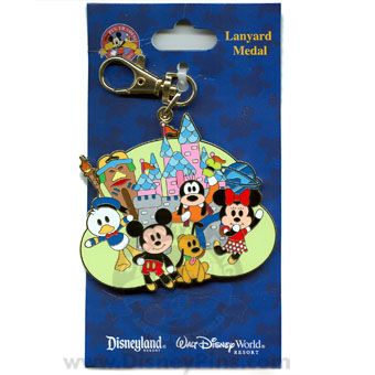 Disney Lanyard Medal - Cute Characters - Mickey, Minnie and Pluto