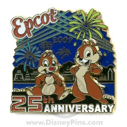 Disney Epcot Pin - 25th Anniversary - Chip and Dale