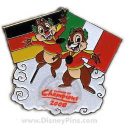 Disney Summer of Champions Pin - Chip & Dale - German & Italian Flags