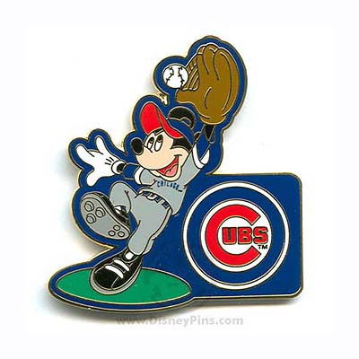 Disney Mickey Mouse Pin - Baseball Player - Chicago Cubs