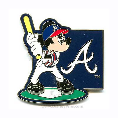 Disney Mickey Mouse Pin - Baseball Player - Atlanta Braves