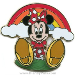 Disney Bobble Feet Pin - Minnie with Rainbow
