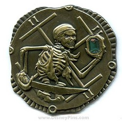 Disney Pirates Pin - Gold Coin with Emerald Stone