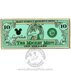 Disney Mickey Mint Pin - $10 Dollar Bill - Figment