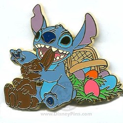 Disney Easter Pin - Stitch - Eating a Chocolate Rabbit