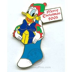 Disney Merry Christmas Pin - Pin Pursuit - Donald Duck Stocking