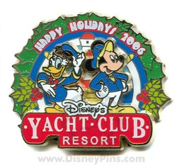 Disney Resort Christmas Wreath Pin - Yacht Club Resort