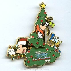 Disney Christmas Party Pin - Mickey, Donald and Goofy with Tree