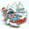 Disney Christmas Party Pin - Snowboarding Stitch