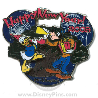 Disney Happy New Year Pin Donald Duck and Goofy Years