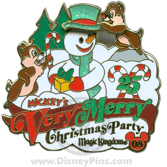 Disney Mickey's Very Merry Christmas Party 2008 Pin - Chip and Dale