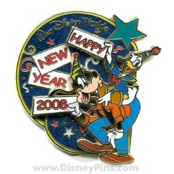disney happy new year pin goofy and donald