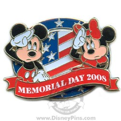 Disney Memorial Day Pin - Mickey and Minnie Salute