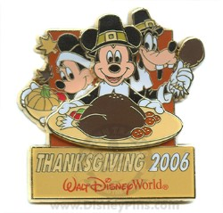 Disney Happy Thanksgiving Pin - 2006 Mickey, Minnie and Goofy