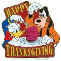 Disney Happy Thanksgiving Pin - 2008 Donald and Goofy