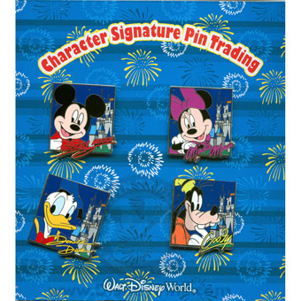 Disney Booster Pin Pack - Character Autographs and Cinderella Castle