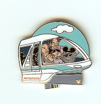 Disney Hidden Mickey Pin - Transportation - Monorail Stitch