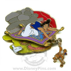 Disney White Glove Pin - Aladdin and Abu