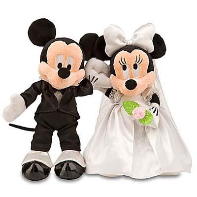 Disney Plush Mickey And Minnie Wedding Set Bride And Groom