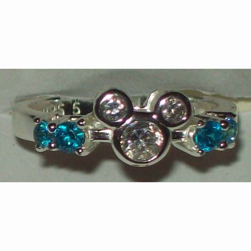 Disney Ring - Mickey Ears Icon - Sterling Silver - Blue or Red
