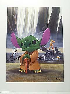Disney Lithograph Star Wars Weekend Stitch Yoda