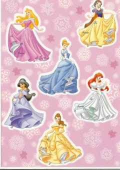Disney Scrapbooking Stickers - 6 Princess Gift tags Holiday